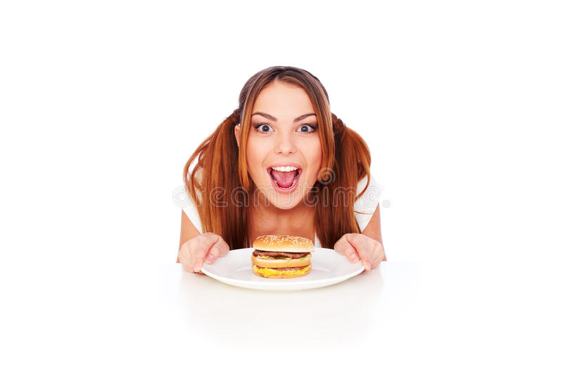Download Emotional Woman With Burger Stock Image - Image: 17817069