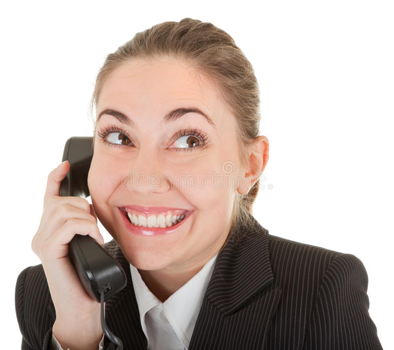 Emotional woman with a telephone stock photo