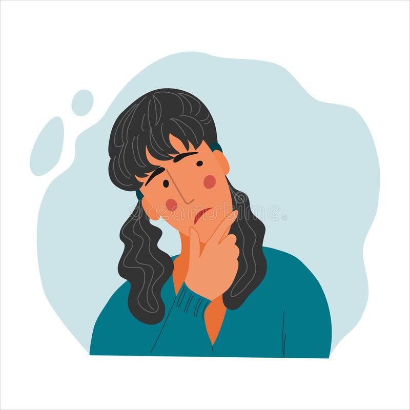 Free Emotional Women Portrait, Hand Drawn Flat Style Design Concept Illustration Of Pensive Girl, Female Face And Shoulders Royalty Free Stock Image - 163729316