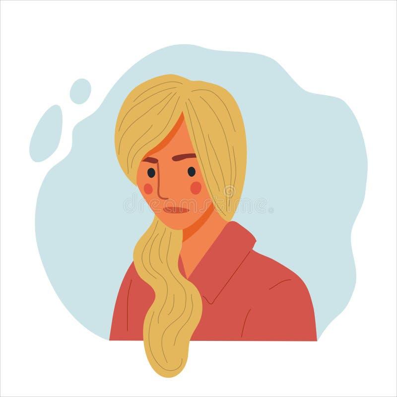 Emotional Women Portrait, handgezeichnete flache Design-Konzept Illustration trauriger Mädchen, glücklicher weiblicher Gesicht un stock abbildung