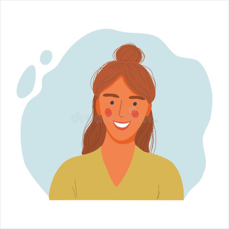 Emotional Women Portrait, handgezeichnete flache Design-Konzept Illustration von Mädchen, glückliche weibliche Gesicht und Schult vektor abbildung
