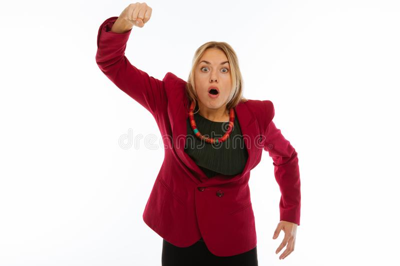 Emotional young woman holding her hand up royalty free stock photo