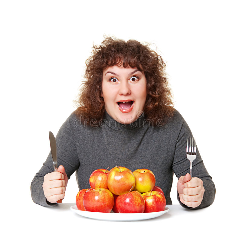Emotionale Frau mit Äpfeln stockbild