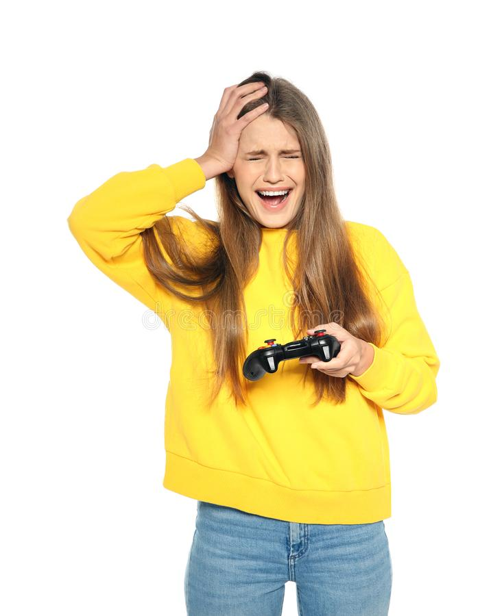 Emotionale junge Frau, die Videospiele mit dem Prüfer lokalisiert spielt lizenzfreie stockbilder