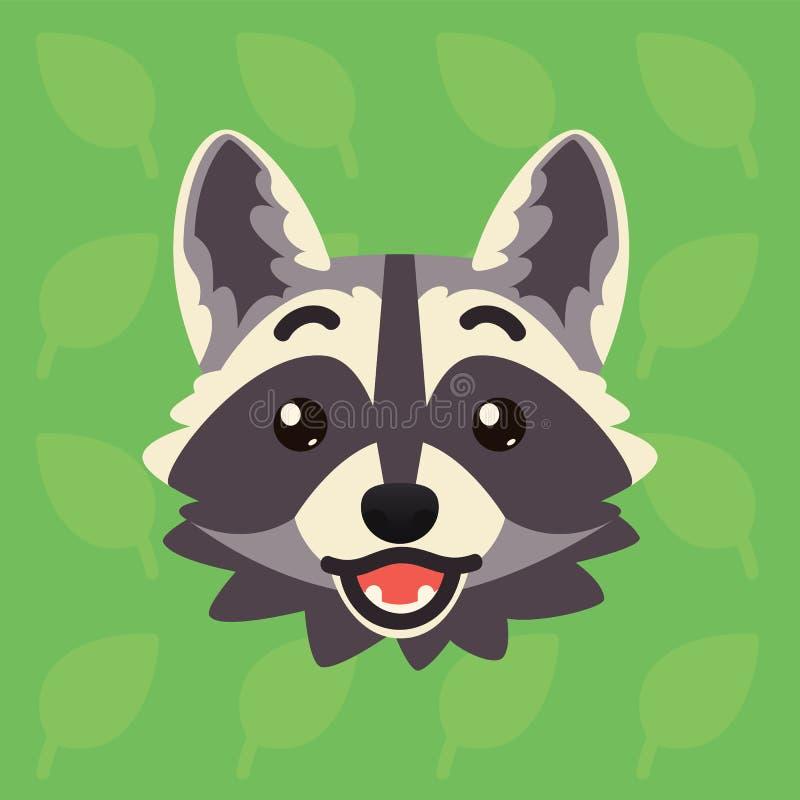 Emotionaler Kopf des Waschbären Vektorillustration des netten Waschbären zeigt überraschtes Gefühl Shoked-emoji Smiley-Ikone Druc stock abbildung