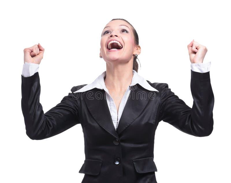 Emotionaler schreiender Unternehmer, der im Sieg sich freut lizenzfreie stockbilder