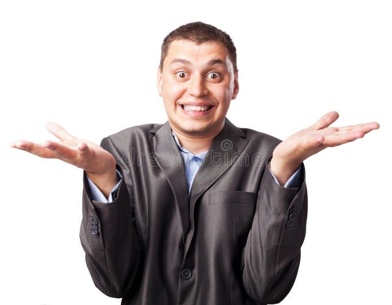 Emotionaler verrückter junger Geschäftsmann stockbilder