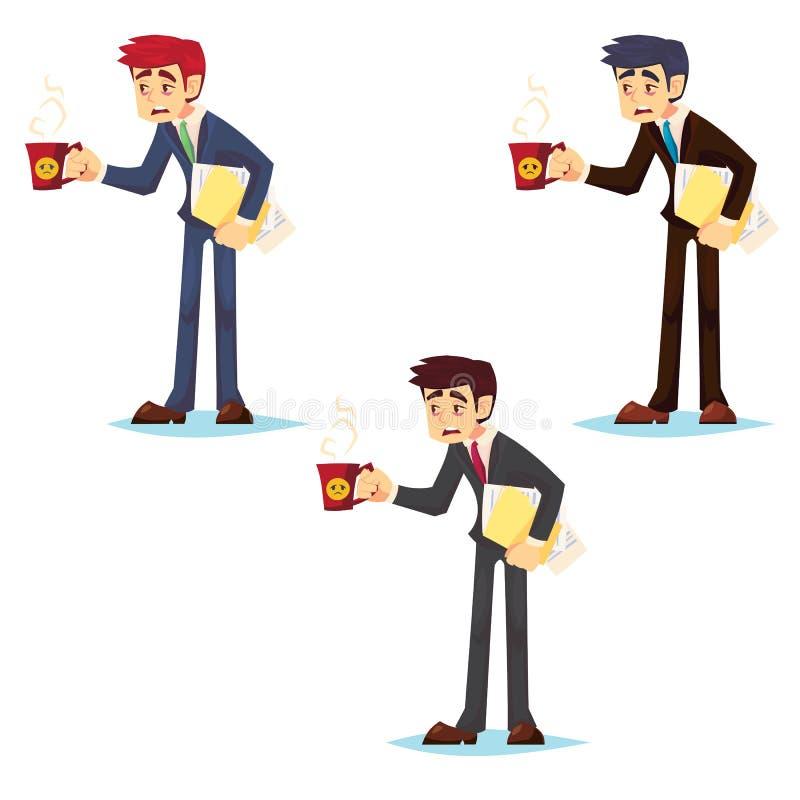 Emotionales Konzept der Arbeitswoche Schläfriger und müder Mann in der Klage mit flacher Illustration des Kaffees und der Vektork stock abbildung