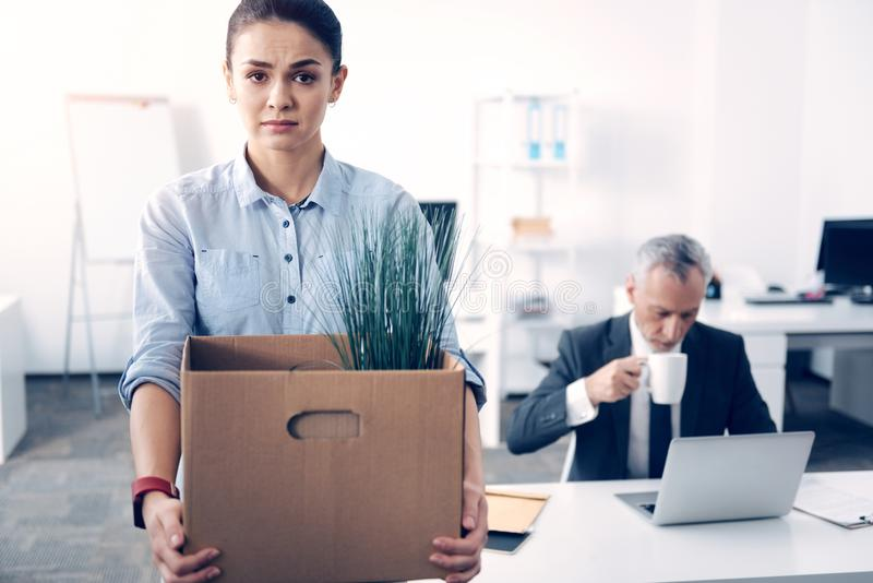 Emotionally exhausted brunette posing with box full of office supplies. Former office worker. Selective focus on an unhappy young employee looking into the royalty free stock photography
