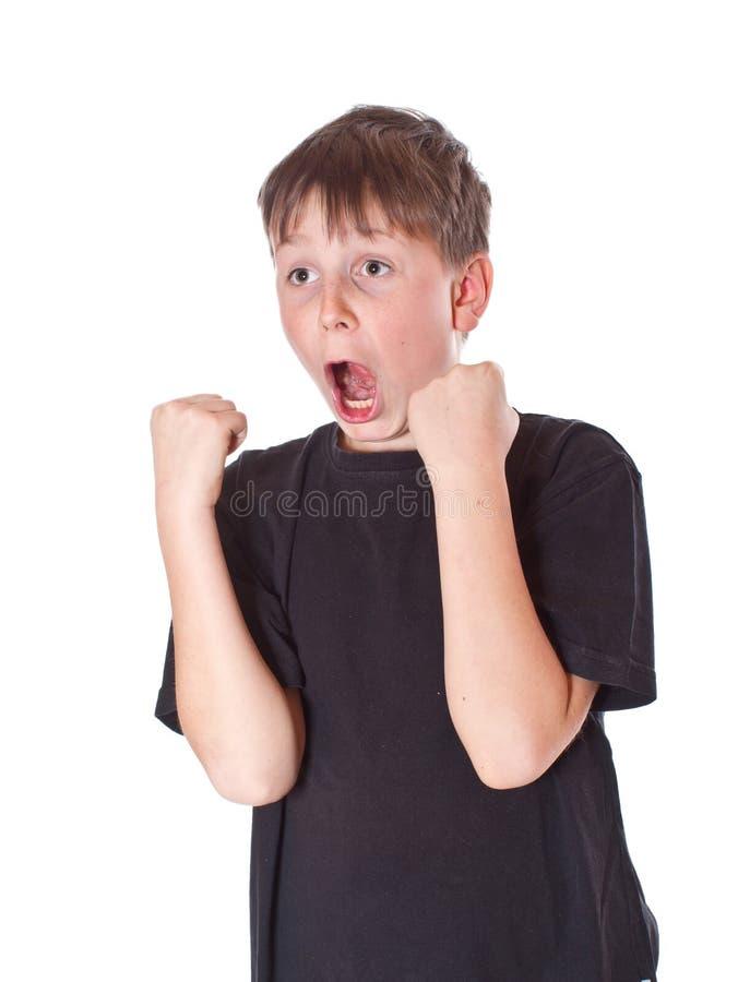 Emotionally happy boy royalty free stock image