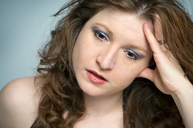 Emotionally Stressed Woman is Upset and Depressed stock photos