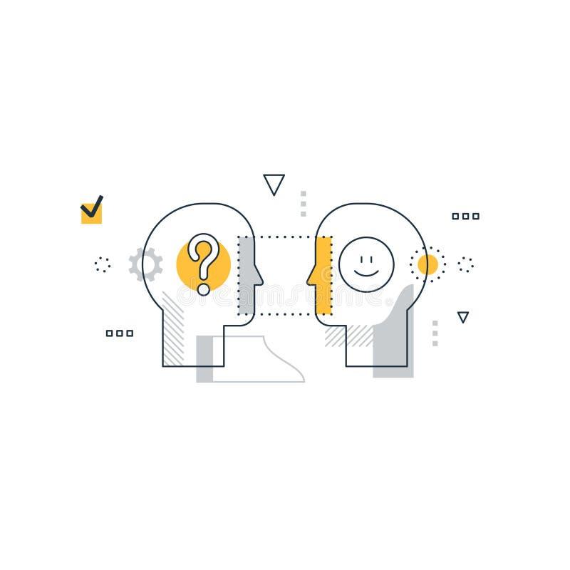 Emotioneel intelligentieconcept, communicatie vaardigheden, het redeneren en overtuiging vector illustratie