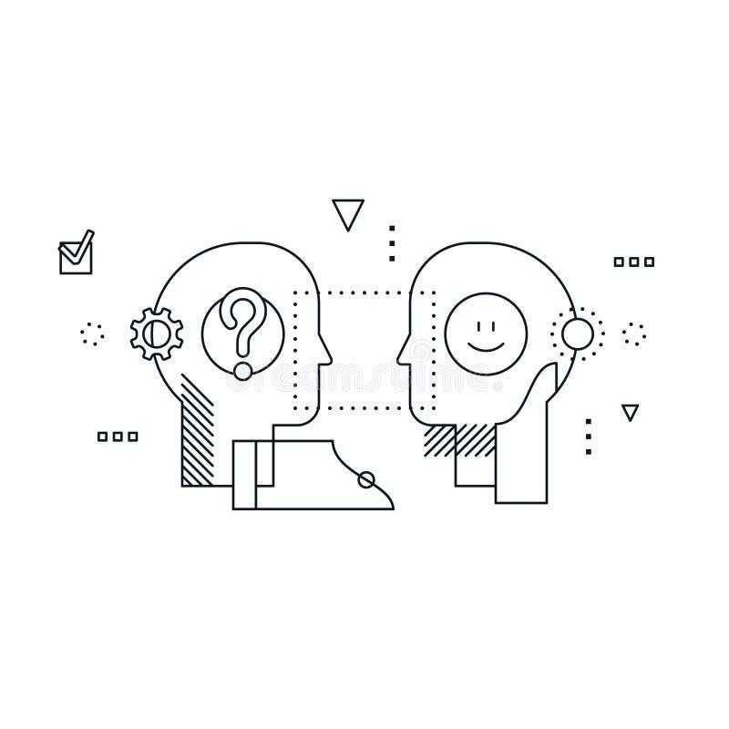 Emotioneel intelligentieconcept, communicatie vaardigheden, het redeneren en overtuiging royalty-vrije illustratie