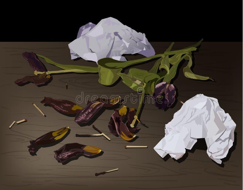 Emotionele hand getrokken illustratie met langzaam verdwenen tulpen en gebroken document royalty-vrije illustratie