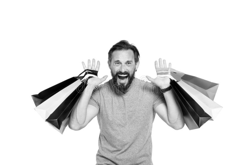 Emotionele mens terwijl verkooptijd Mensen gek over het winkelen Zwarte vrijdagtijd Uiterst gelukkige mens na wandelgalerij met h royalty-vrije stock foto