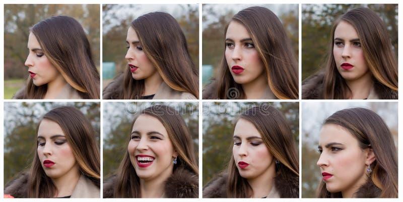 Emotionele portretten van een jonge vrouw royalty-vrije stock afbeelding