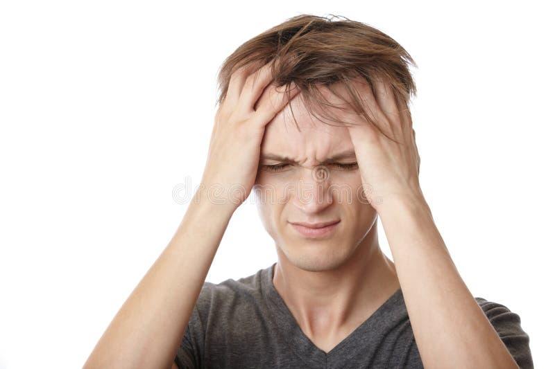 Emotionele spanning en hoofdpijn royalty-vrije stock foto