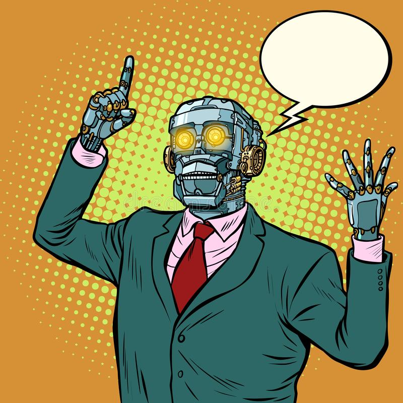 Emotionele sprekersrobot, dictatuur van gadgets royalty-vrije illustratie