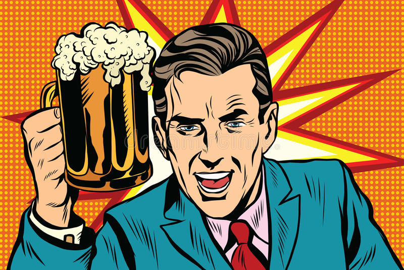 Emotionele uitstekende mens met bier stock illustratie