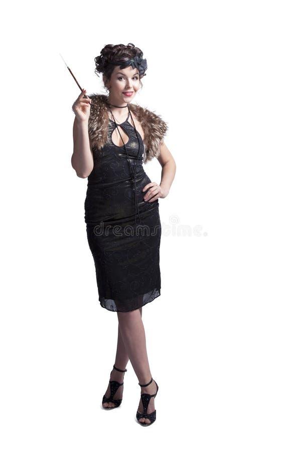 Emotionele vrouw in retro stijl met mondstuk royalty-vrije stock afbeelding