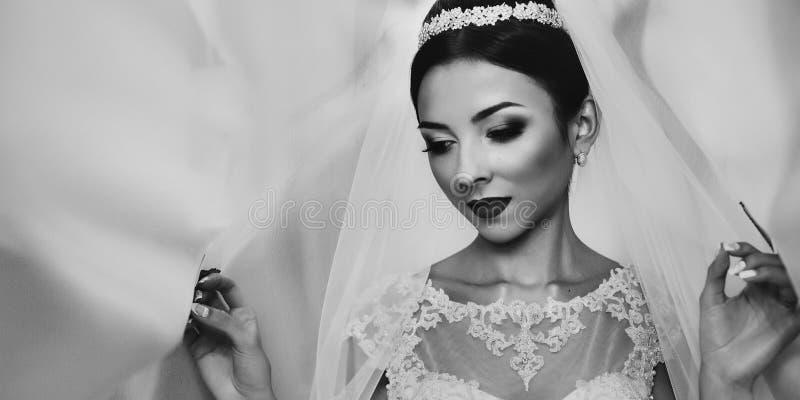 Emotionell brunettbrud i den vita klänningen för tappning som poserar under byracka royaltyfri fotografi