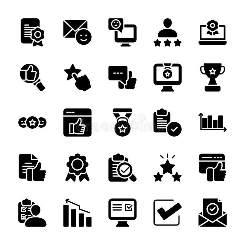 Emotionell fast symbolsuppsättning för åsikt och för kontrollista vektor illustrationer