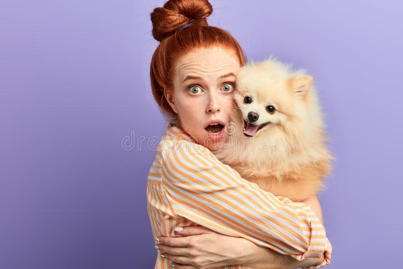 Emotionell flicka med den breda öppna munnen som rymmer hennes husdjur och ser kameran royaltyfri bild