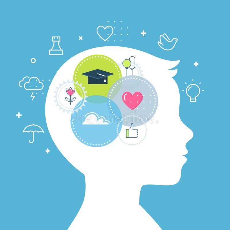 Emotionell illustration för intelligens-, känsla- och sinnesrörelsebegreppsvektor vektor illustrationer