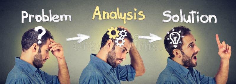 emotionell intelligens Sidosikt av ett fundersamt som analyserar finna en ung man för lösning med frågekugghjulmekanismen, ljus k royaltyfri bild