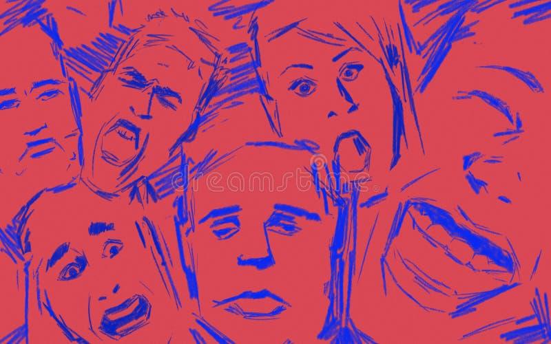 Emotionell intelligens uttryckte vid olika framsidauttryck Rött och blått skissa stil arkivfoto