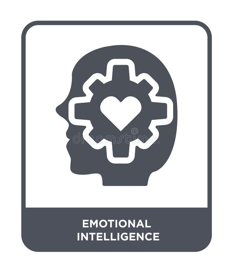 emotionell intelligenssymbol i moderiktig designstil emotionell intelligenssymbol som isoleras på vit bakgrund emotionellt stock illustrationer