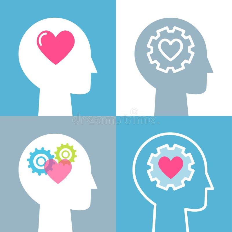 Emotionell uppsättning för illustrationer för intelligens-, känsla- och mental hälsabegreppsvektor royaltyfri illustrationer