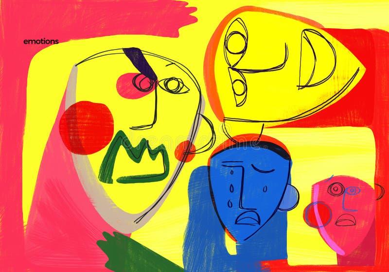 Emotionell utbildning vänder mot den färgrika illustrationen för uttryck royaltyfri foto