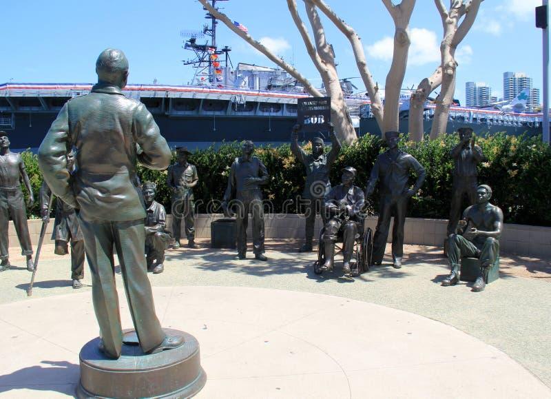 Emotionell utställning av Bob Hope och hans förälskelse för soldaterna, San Diego, Kalifornien, 2016 arkivfoton