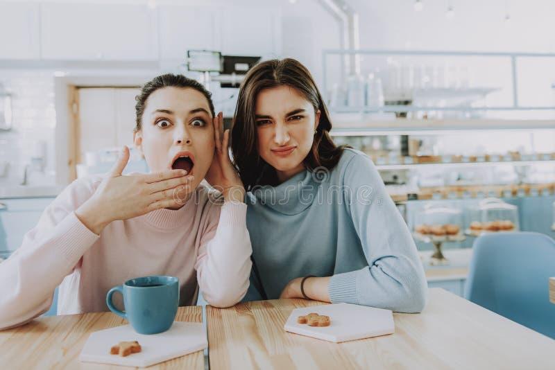 Emotionella kvinnliga vänner som sitter i kafét royaltyfri bild