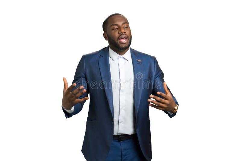 Emotionellt anförande av affärsinstruktören royaltyfria bilder