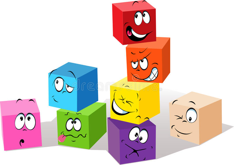 Emotions. Set of colorful blocks showing different facial expressions and emotions vector illustration
