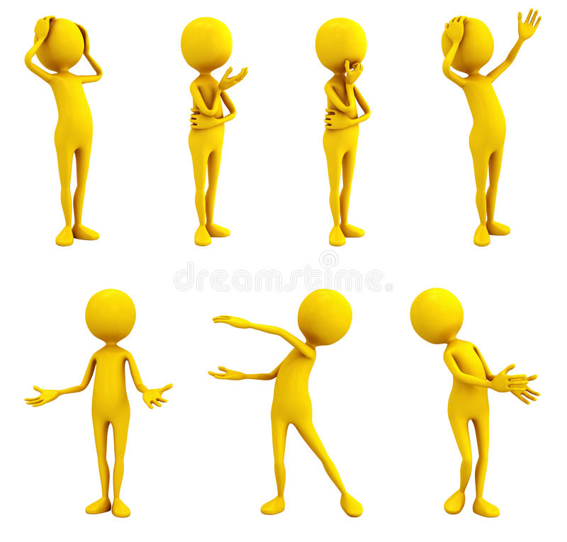 Emotions. Seven yellow personages on white background stock illustration