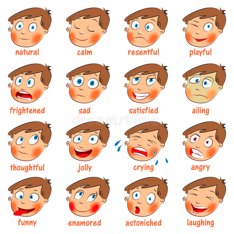 Emotions. Cartoon Facial Expressions Royalty Free Stock Photo