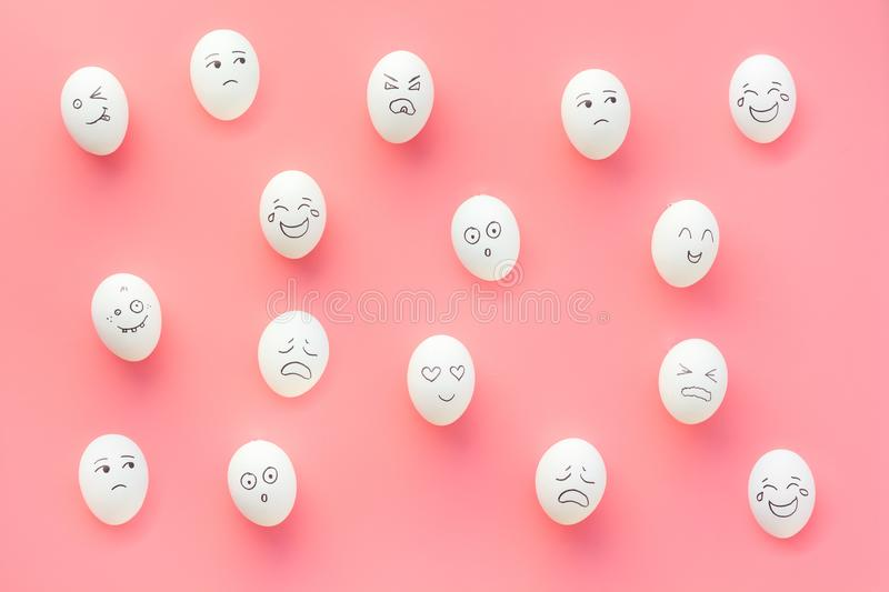 Emotions in communication at social media. Faces drawn on eggs. Happy, smile, sad, angry, in love, saticfied, laughing royalty free stock photo