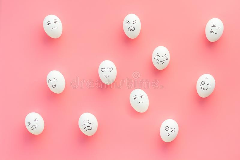 Emotions in communication at social media. Faces drawn on eggs. Happy, smile, sad, angry, in love, saticfied, laughing stock image