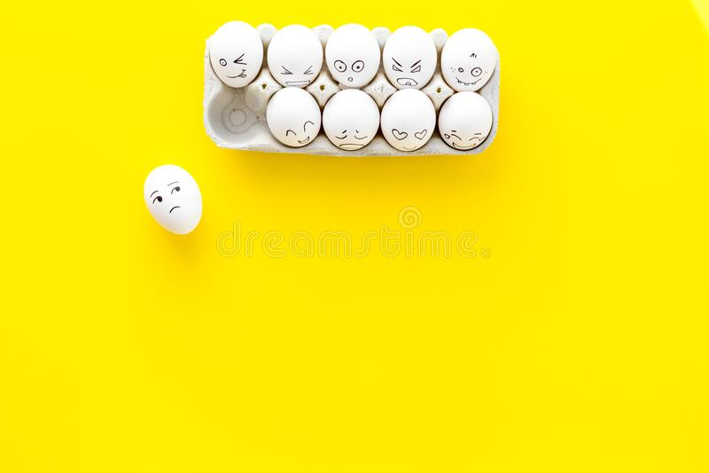 Emotions in communication at social media. Faces drawn on eggs. Happy, smile, sad, angry, in love, saticfied, laughing royalty free stock photography
