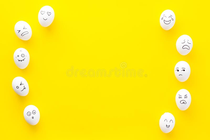 Emotions in communication at social media. Faces drawn on eggs. Happy, smile, sad, angry, in love, saticfied, laughing stock images