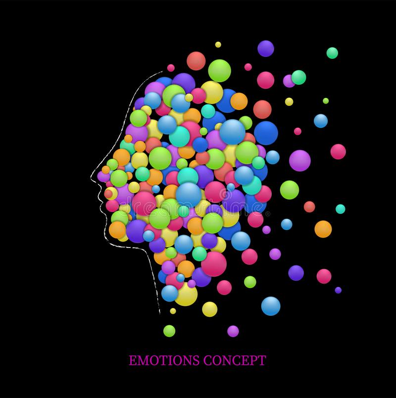 Emotions concept, fulling heads with colored rounds, euphoria idea,. Vector stock illustration