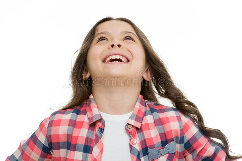 Emotions concept. Sincere emotional child. Girl laugh emotional face. Humor and react funny story. Childhood and. Happiness concept. Kid with cheerful face and stock photo