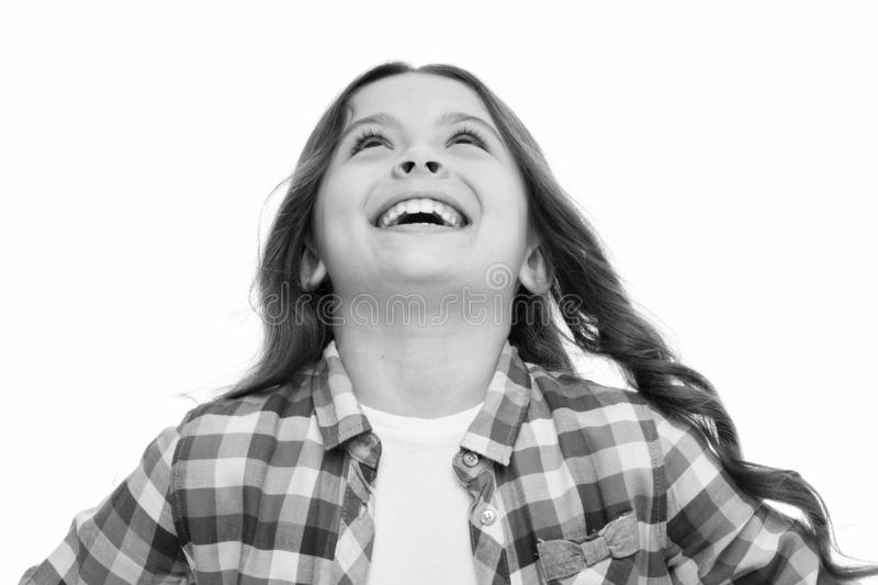 Emotions concept. Sincere emotional child. Girl laugh emotional face. Humor and react funny story. Childhood and. Happiness concept. Kid with cheerful face and royalty free stock photos