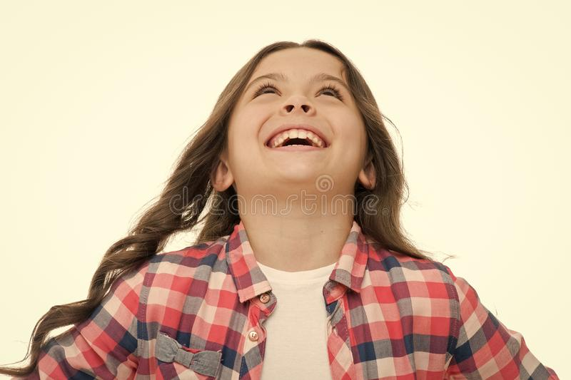 Emotions concept. Sincere emotional child. Girl laugh emotional face. Humor and react funny story. Childhood and. Happiness concept. Kid with cheerful face and stock photography