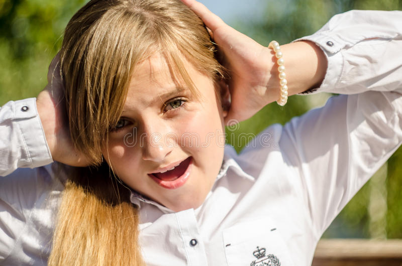 Emotions. Emotion and surprise. Adolescents and their emotions stock images