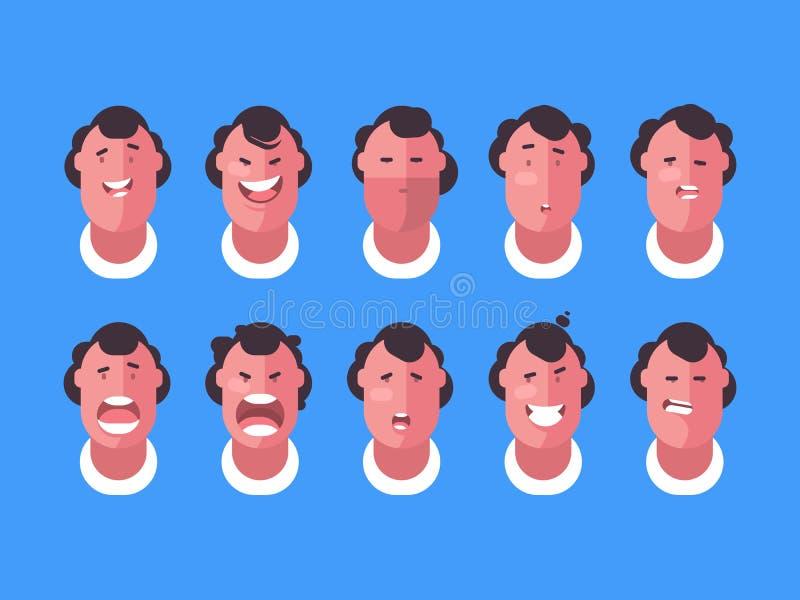 Emotions faces man stock illustration