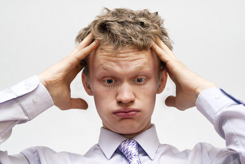 Download The Emotions, The Guy At The Grey Background Stock Photo - Image: 23087136